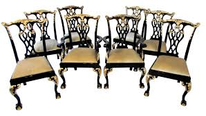 Chippendale Dining Room Chairs Black Lacquer U0026 Gilded Chippendale Dining Chairs Mid Century