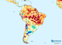 Map Of Brazil South America by South America Large Pockets Of Exceptional Water Deficits In