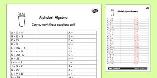 algebra worksheet worksheets letters activities