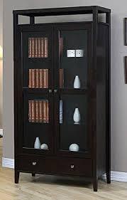 aristo modern halifax brown solid wood 2 door bookcase with glass