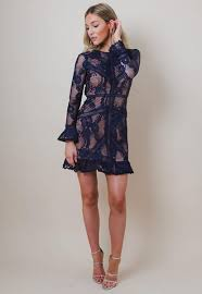backless dress pretty lavish sleeved backless lace dress navy