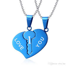 heart key lock necklace images Wholesale key lock heart necklace sets couple his hers promise jpg