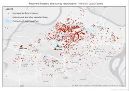 Map St Louis Cancer Cluster Map In North County U2013 July 2015 U2013 Www