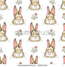 water color pattern cute bunny retro stock illustration 584052175