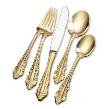 antique baroque 80 pc gold plated flatware set