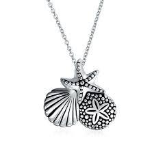 marine jewelry 925 silver nautical sand dollar starfish seashell pendant 18in