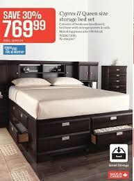 sears cypress ii queen size storage bed set redflagdeals com