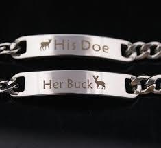 Laser Engraving His Doe Her Buck Laser Engraving Stainless Steel Bracelets Pluto99