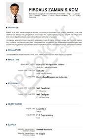 Sample Resume Yang Terbaik by Cv Resume Resume Cv Bahasa Inggris