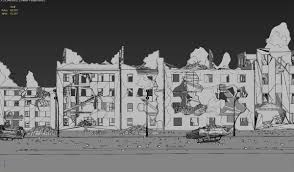 3d asset ruined city buildings cgtrader