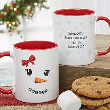 personalized christmas gifts snowman character personalized christmas mug 11oz red
