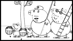 peppa pig and george picking the apples coloring pages cartoon