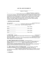 sample last will and testament form free download