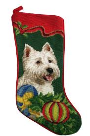 christmas needlepoint west highland terrier dog needlepoint christmas for the