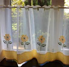 Kitchen Curtains Ebay Sunflower Yellow U0026 White Voile Cafe Net Curtain Panel Kitchen