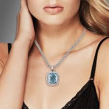 blue cubic zirconia necklace images Valdo zeni 09378 sterling silver blue topaz cushion shaped jpeg