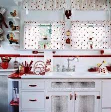Retro Kitchen Curtains 1950s by 53 Best Red And White Kitchen Images On Pinterest Red Red