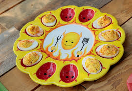 ceramic deviled egg plate devilishly egg platter ilovetocreate