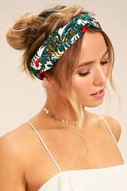 knotted headband and green floral print headband knotted headband