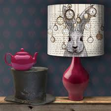 fabfunky home decor products notonthehighstreet com alice in wonderland white rabbit lampshade bedroom