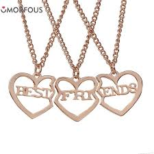 gold friend necklace images 10 sets lot 3 pieces lot best friend necklace jewelry rose gold jpg