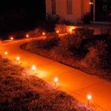 lumabase orange pathway lights 10 count 61210 the home depot