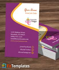 Standard Us Business Card Size Yoga Travel Business Card Template