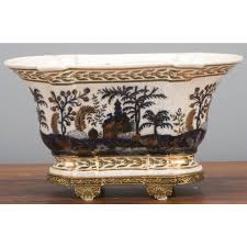 porcelain blue and white imari garden oriental planter gold accents