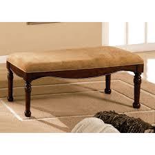 interior broken white canvas storage benches with dark brown
