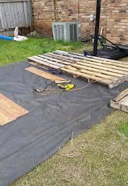 Build A Basketball Court In Backyard Diy Pallet Basketball Court Hometalk