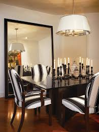 Black And White Striped Dining Chair Oversized Floor Mirror Dining Room Traditional With Leaning Mirror