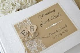 personalised wedding guest book rustic style personalised wedding guest book wooden heart lace