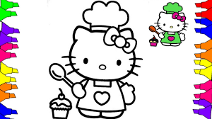 hello kitty coloring pages how to draw hello kitty cooking