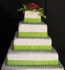 wedding cakes pictures square wedding cakes with green trim