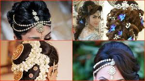 indian bridal hairstyle 10 most beautiful indian bridal hairstyle images youtube