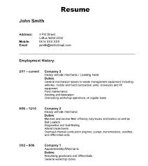 Job History Resume by Automobile Resume Template Download Free Samples Examples