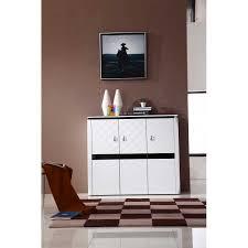 modern 3 door white shoe cabinet stylish storage unit 6 shelves