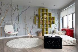 White Sofa Design Ideas Appealing Teen Bedroom Design With Interesting Wallpaper Unusual