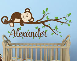 Monkey Decorations For Nursery Hanging Monkey Wall Decal Monkey Nursery Decor Monkey Decal