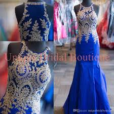 2016 prom dresses mermaid style with high neck and gold details