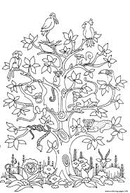 difficult tress birds snakes monkeys coloring pages printable
