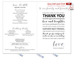 print wedding programs thank you message wedding program fan warm colors
