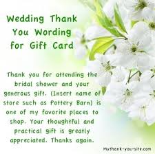 bridal shower gift card bridal shower thank you notes and card wording