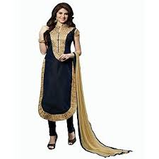 suit dress dnveens women black chanderi cotton embroidered unstiched party