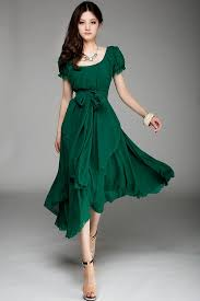 green dress irregular hemline bound waist sleeve dress oasap