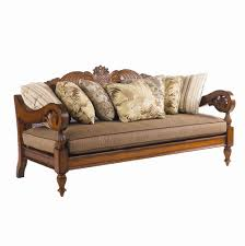 Colonial Settee Island Estate Paradise Cove Sofa With Wood Carvings By Tommy