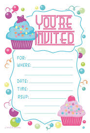 theme invitations cupcake theme birthday party invitations fill in