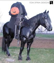 headless horseman costume sized statue with headless horseman prop