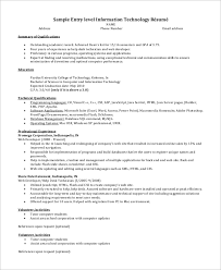 Example Summary For Resume Of Entry Level by Sample Entry Level Resume 9 Examples In Word Pdf