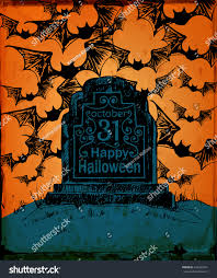 halloween card hand drawn tombstone lettering stock vector